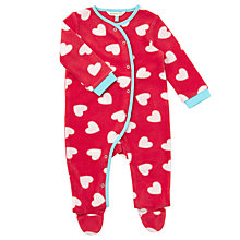 Buy John Lewis Baby Heart Print Fleece Playsuit, Pink Online at johnlewis.com