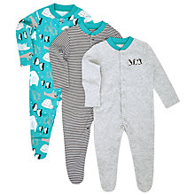 Buy John Lewis Baby Arctic Sleepsuits, Pack of 3, Blue/Grey Online at johnlewis.com