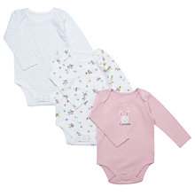Buy John Lewis Baby's Long Sleeve Floral Bodysuits, Pack of 3, Pink Online at johnlewis.com