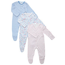 Buy John Lewis Baby Assorted Sleepsuits, Pack of 3, Blue Online at johnlewis.com