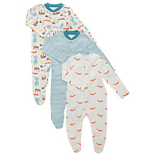 Buy John Lewis Baby's Woodland Sleepsuits, Pack of 3, Multi Online at johnlewis.com