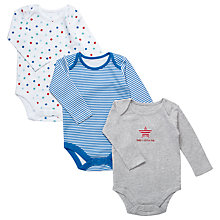 Buy John Lewis Baby Stars and Stripes Bodysuits, Pack of 3, Blue/Grey Online at johnlewis.com