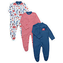 Buy John Lewis Baby London Sleepsuits, Pack of 3, Navy/Red Online at johnlewis.com