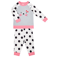 Buy John Lewis Baby's Cat Face Polka Pyjamas, Grey Online at johnlewis.com