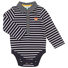 Buy John Lewis Baby Stripy Fox Applique Bodysuit, Navy/White Online at johnlewis.com