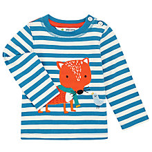 Buy John Lewis Baby Fox Stripe Long Sleeve Top, Blue/White Online at johnlewis.com