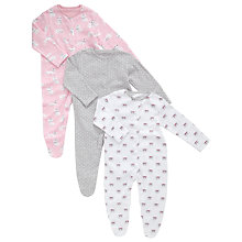 Buy John Lewis Baby's Cat Sleepsuits, Pack of 3, Multi Online at johnlewis.com
