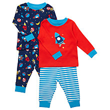 Buy John Lewis Baby's Space Pyjamas, Pack of 2, Red/Navy Online at johnlewis.com