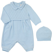 Buy Emile et Rose Baby Felix Diamond Romper and Hat Set, Blue Online at johnlewis.com