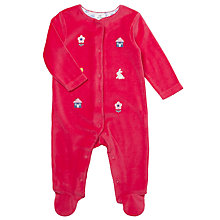 Buy John Lewis Baby Embroidered Sleepsuit, Coral Online at johnlewis.com