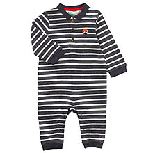 Buy John Lewis Baby's Striped Fox Emblem All-in-One, Navy/White Online at johnlewis.com
