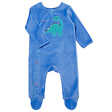 Buy John Lewis Baby's Dino Velour Sleepsuit, Blue Online at johnlewis.com