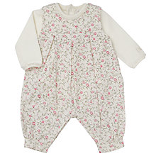 Buy Emile et Rose Baby Flower Cord Dungarees and Top Set, Cream/Pink Online at johnlewis.com