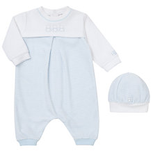 Buy Emile et Rose Baby Finlay Romper and Hat, Blue/White Online at johnlewis.com