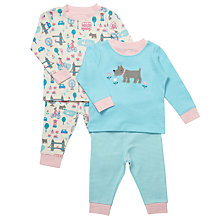 Buy John Lewis Baby London Scottie Dog Pyjamas, Pack of 2, Turquoise/Multi Online at johnlewis.com