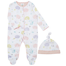 Buy John Lewis Baby's Tree Print Sleepsuit with Hat, White/Multi Online at johnlewis.com