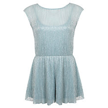 Buy Miss Selfridge Petite Plisse Playsuit, Mint Online at johnlewis.com