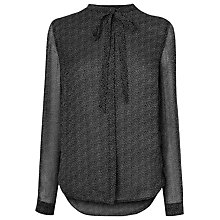 Buy L.K. Bennett Jaklyn Printed Silk Top, Black/White Online at johnlewis.com