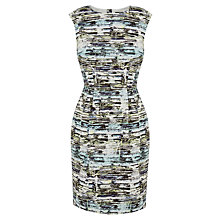 Buy Warehouse Linear Ripple Dress, Green Print Online at johnlewis.com