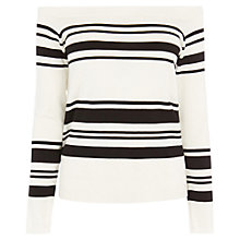 Buy Warehouse Stripe Bardot Jumper, Ivory Online at johnlewis.com