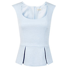 Buy Miss Selfridge Peplum Jacquard Top, Pastel Blue Online at johnlewis.com