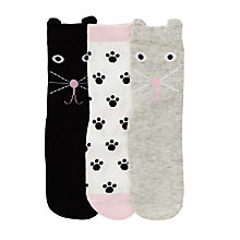 Buy John Lewis Girl Cat Print Socks, Pack of 3, Multi Online at johnlewis.com