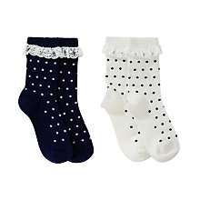Buy John Lewis Girl Polka Dot Top Frill Socks, Pack of 2, Multi Online at johnlewis.com