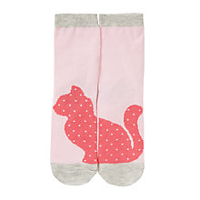 Buy John Lewis Girl Cat Print Socks, Pink Online at johnlewis.com