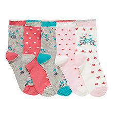 Buy John Lewis Girl Paris Socks, Pack of 5, Multi Online at johnlewis.com