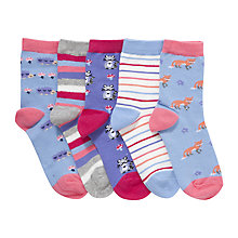 Buy John Lewis Children's Woodland Animal Socks, Pack of 5, Multi Online at johnlewis.com