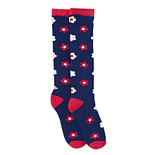 Buy John Lewis Girl Floral Socks, Navy/Pink Online at johnlewis.com