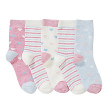 Buy John Lewis Girl Heart and Stripe Socks, Pack of 5, Multi Online at johnlewis.com