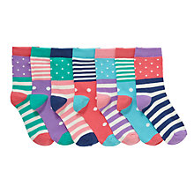 Buy John Lewis Girl Days of the Week Spots and Stripes Socks, Pack of 7, Multi Online at johnlewis.com