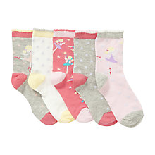 Buy John Lewis Girl Fairy Print Socks, Pack of 5, Pink/Grey Online at johnlewis.com