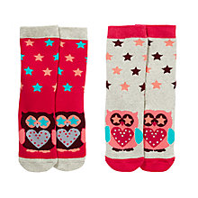 Buy John Lewis Girl Thermal Owl Socks, Pack of 2, Multi Online at johnlewis.com