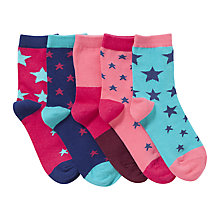Buy John Lewis Girl Star Print Socks, Pack of 5, Pink/Blue Online at johnlewis.com