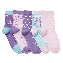 Buy John Lewis Girl Butterfly and Heart Print Socks, Pack of 5, Multi Online at johnlewis.com