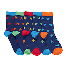 Buy John Lewis Colourful Star Socks, Pack of 5, Multi Online at johnlewis.com