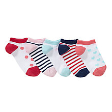 Buy John Lewis Girl Patterned Trainer Socks, Pack of 5, Multi Online at johnlewis.com