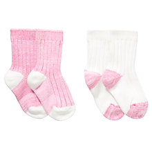 Buy John Lewis Girl Marl Knit Boot Socks, Pack of 2, Pink Online at johnlewis.com