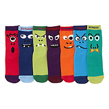 Buy John Lewis Boy Days of the Week Monster Socks, Pack of 7, Multi Online at johnlewis.com