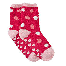 Buy John Lewis Girl Spot Fluffy Slipper Socks, Pink Online at johnlewis.com