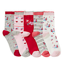Buy John Lewis Girl Vintage Floral Socks, Pack of 5, Multi Online at johnlewis.com