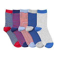 Buy John Lewis Boy Thin Striped Socks, Pack of 5, Multi Online at johnlewis.com