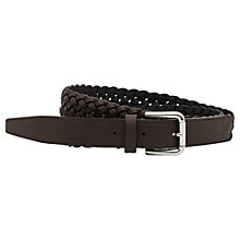Buy Reiss Gaston Lattice Weave Leather Belt, Mid Brown Online at johnlewis.com