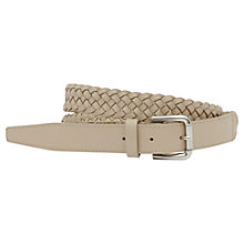 Buy Reiss Gaston Lattice Weave Leather Belt, Chalk Online at johnlewis.com