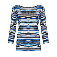 Buy Collection WEEKEND by John Lewis Boat Neck Ripple Stripe T-Shirt, Blue Online at johnlewis.com