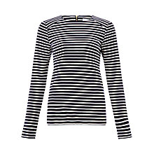 Buy Collection WEEKEND by John Lewis Zip Detail Long Sleeve Stripe Top Online at johnlewis.com