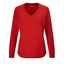 Buy John Lewis Long Sleeve Slub Cotton V-Neck T-Shirt Online at johnlewis.com
