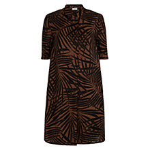 Buy Hobbs Palm Print Dress, Deep Choc Stone Online at johnlewis.com
